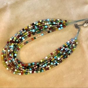 8 strand multicolored glass beaded necklace by ZAD